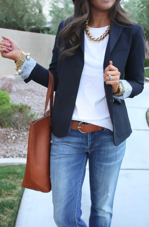 6418f370a1 Navy Blue Blazer With White Top   Jeans on Stylevore