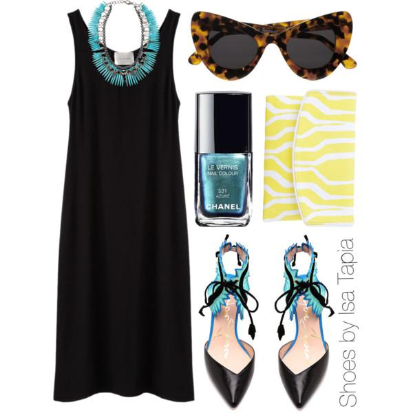 Go with a simple black slip dress then add a statement necklace so it wouldn't look too plain.