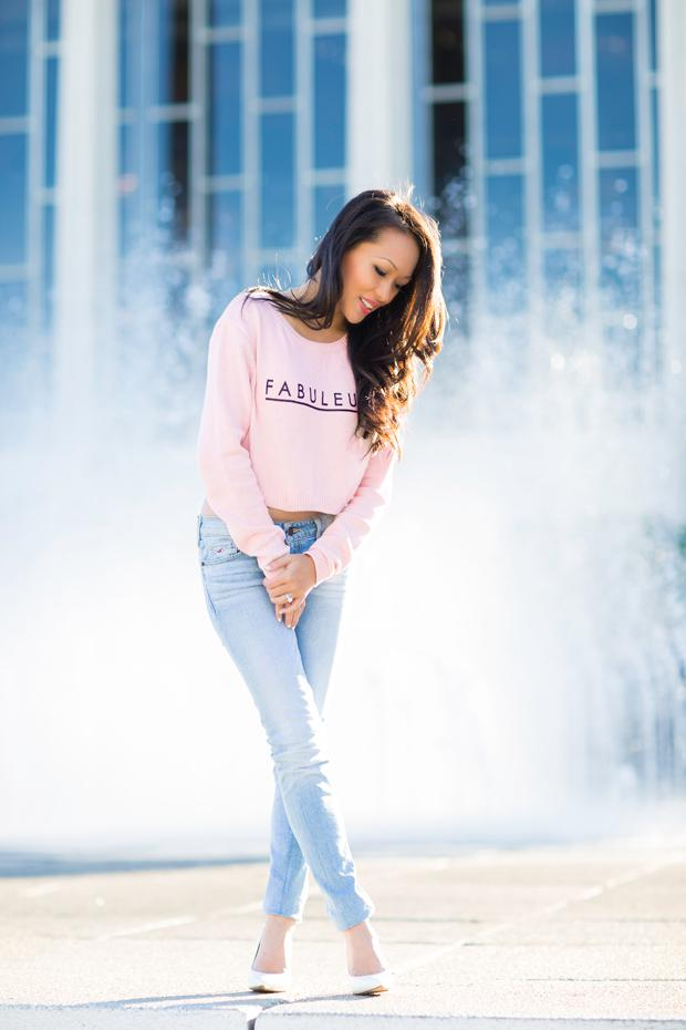 Cropped sweater and jeans