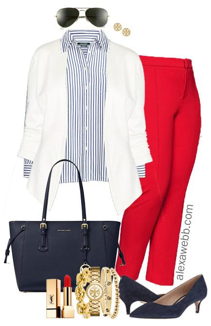 6d1a97596d48 Plus Size Red Pants Work Outfit on Stylevore