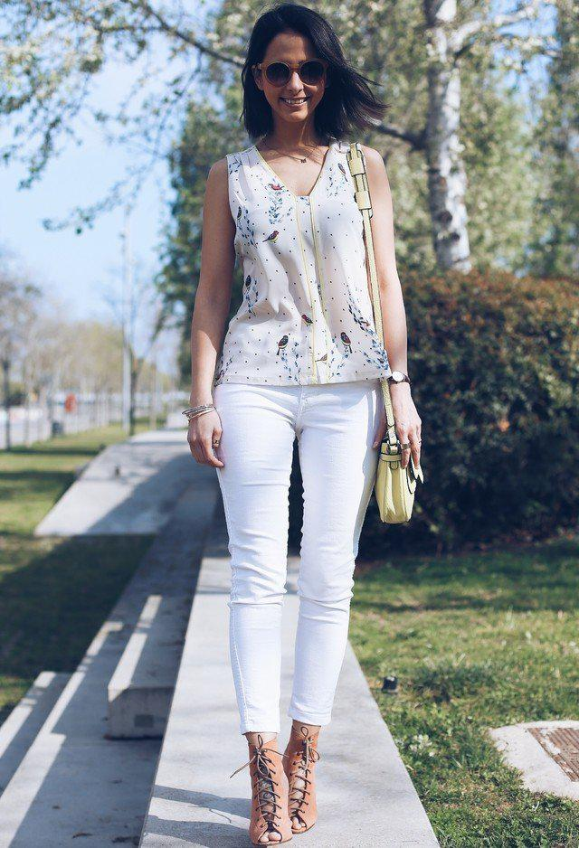 Pretty White Jeans Outfit Idea For Summer