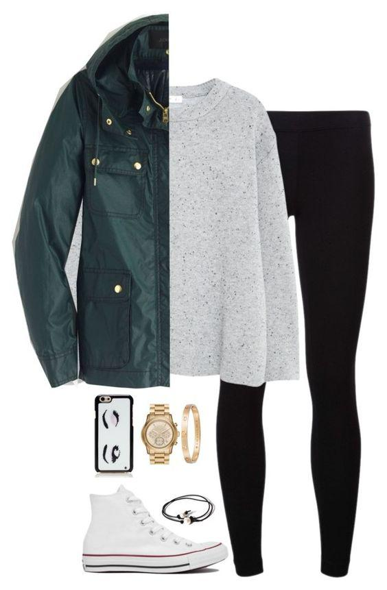 This outfit featuring James Perse, MANGO, J.Crew, Converse, Joie, Kate Spade