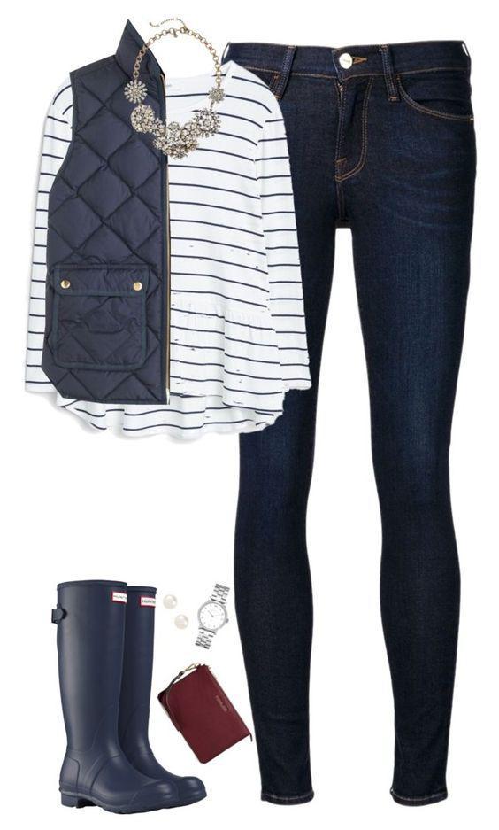 """""""Navy stripes, vest & hunter boots featuring Frame Denim"""