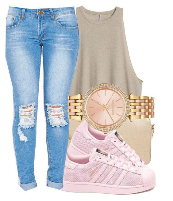 dc949a19cf67 This Polyvore outfit featuring Jeans, Michael Kors, Adidas. on Stylevore
