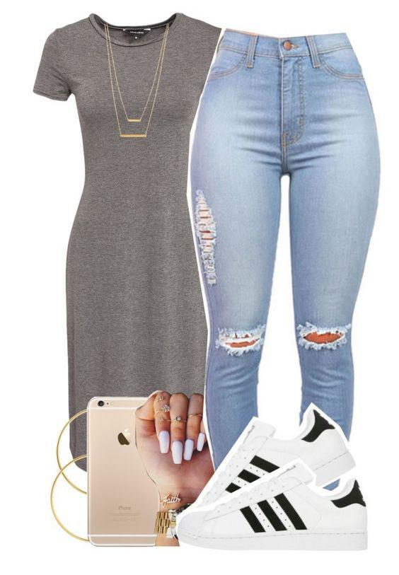 Polyvore featuring Mode, New Look, Melissa Odabash, adidas