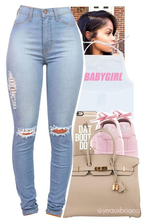 This outfit featuring adidas, Casetify, Herm women's clothing, women's fashion, women,