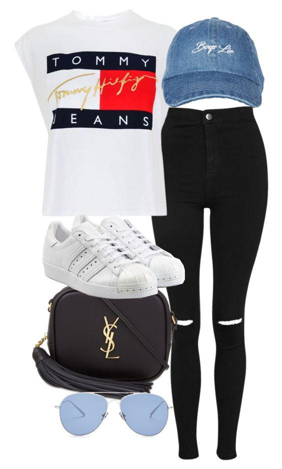 Polyvore featuring Topshop, Tommy Hilfiger, Yves Saint
