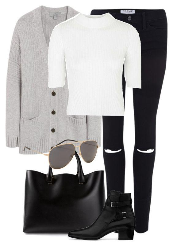 This outfit featuring Mulberry, Frame Denim, Topshop, Chloé and Yves Saint Laurent