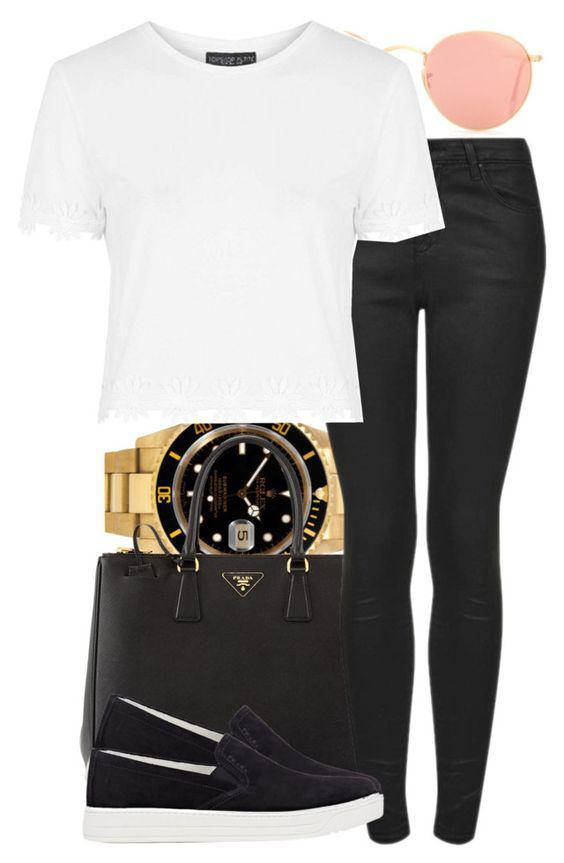 da6b7bfaeab This Polyvore outfit featuring Rolex, Prada, Ray-Ban, Topshop and ...