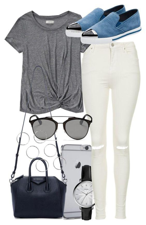 This outfit featuring FOSSIL, Topshop, Abercrombie & Fitch, Miu Miu, Givenchy and Christian Dior