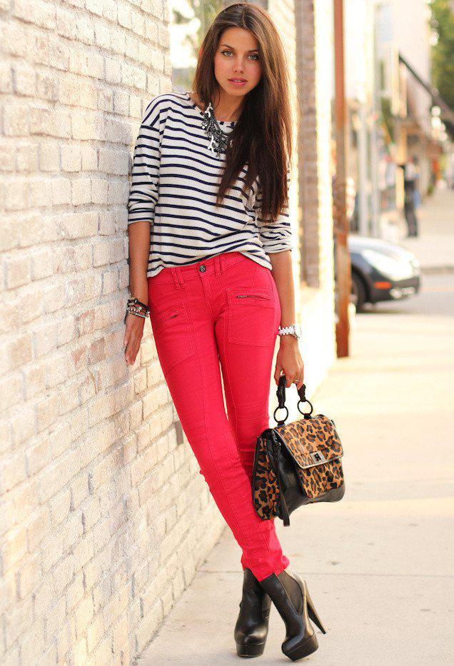 stripe outfit idea with red jeans on stylevore