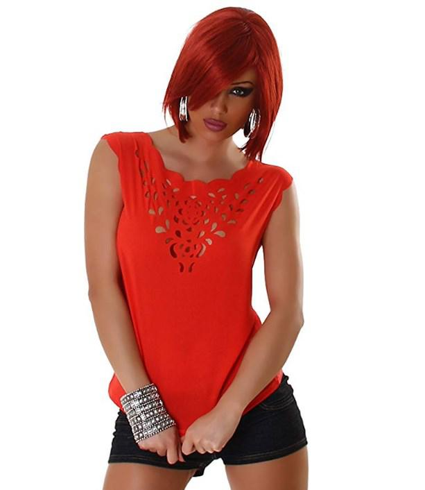 JELA London Femmes Top Shirt de Blouses Blouse Chemise Transparente T-Shirt Sans Manches Pas de  ...