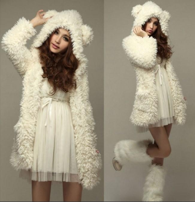 Casual Noble Fall Winter Warm Hooded Furry Coat