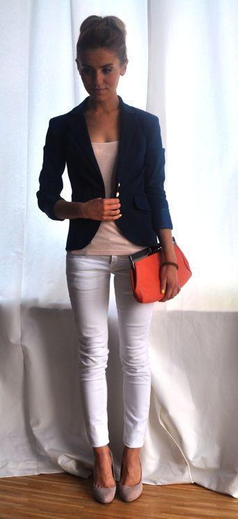 39da5b4384 White jeans and blue blazer…summer! on Stylevore