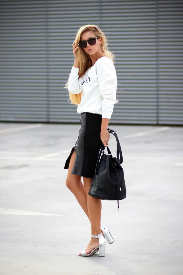 White Sweater and Black Pencil Skirt