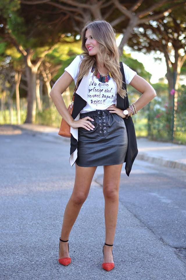 830424a2f08d White Top and Black Leather Skirt For Summer   Spring on Stylevore