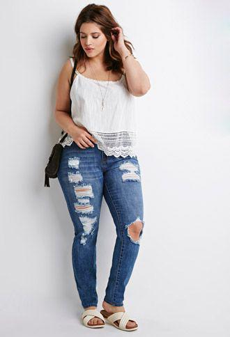 6ea5bfc495c White top – distressed denim jeans and slip on footbed sandals on ...