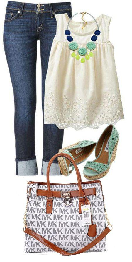 White top, jeans and blue green accessories. Perfect outfit