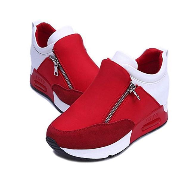OHQ Chaussures De Sport Et Baskets à Fond éPais pour Femmes Noir Rouge Mode Sneakers Sports Cour ...