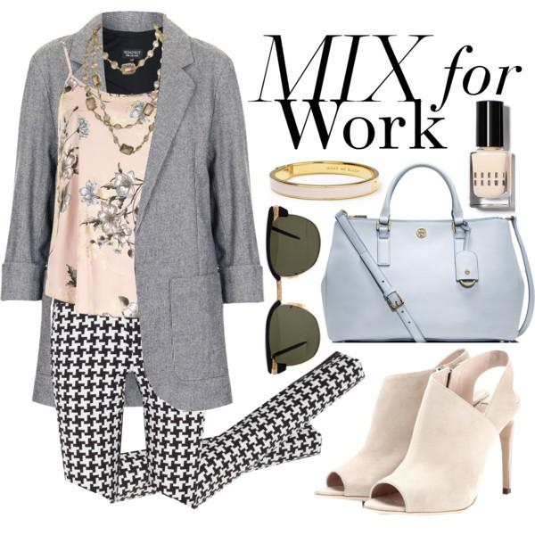 You can go for black-white Houndstooth print slim trousers that can be worn with a cute blush to ...