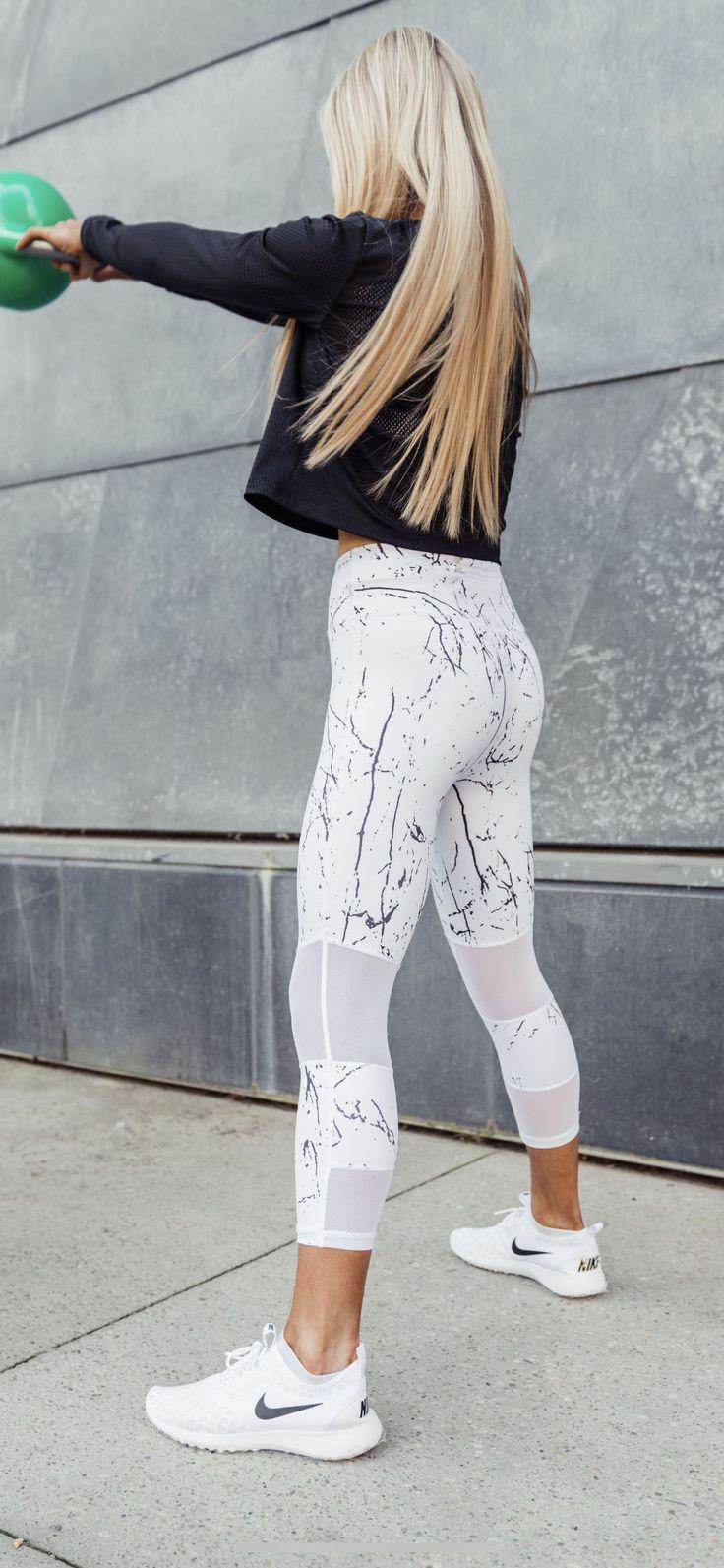 White Marble Print Active Wear And Running Shoes On Stylevore
