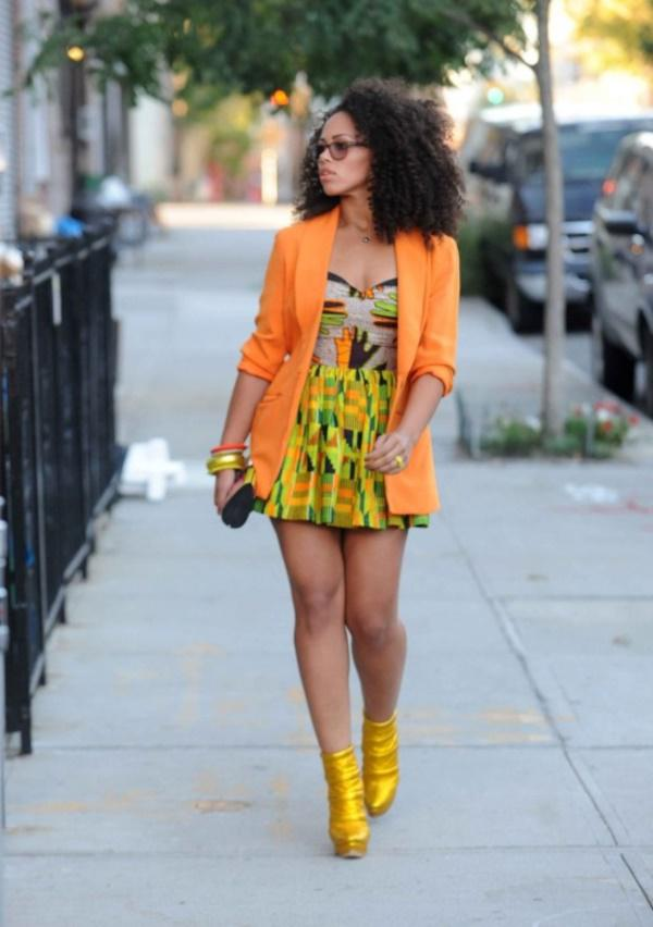 Orange color midis with matching blazer over it are in vague these days among African women.