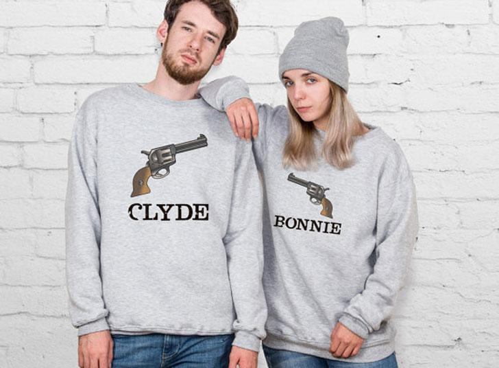 Matching Swag Casual Winter Outfit For Couples – Bonnie And Clyde Matching Sweaters