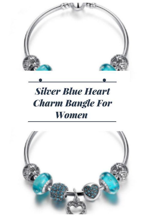 Silver Blue Heart Charm Bangle For Women