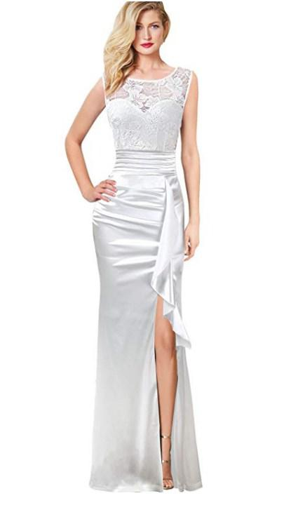e57008764545 VFSHOW Womens Formal Ruched Ruffles Evening Prom Wedding Party Maxi Dress