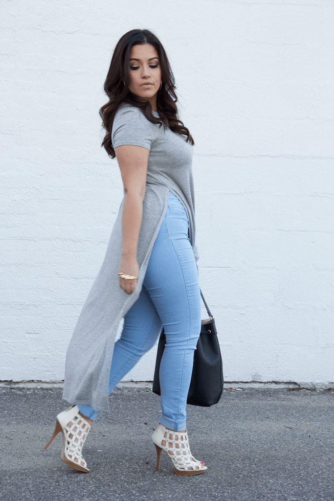 Casual Denim Outfits YMI Jeans Forever 21 Split T-Shirt | Blue Jeans | Girls Denim Outfit