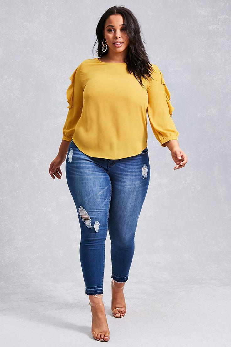 Ripped Jeans Low Waist For Curvy Girls | Yellow Top with Blue Jeans