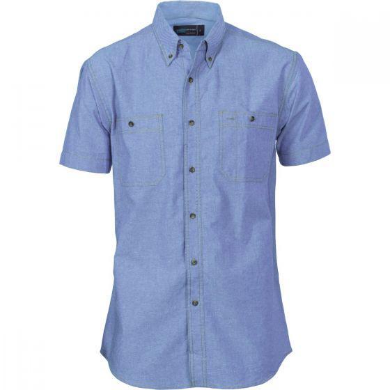 DNC WORKWEAR Cotton Chambray Twin Pocket Short Sleeve Shirt 4101