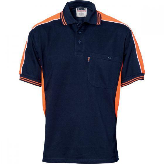 DNC WORKWEAR Polyester Cotton Panel Short Sleeve Polo Shirt 5214