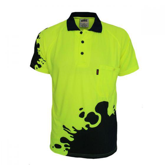 DNS WORKWEAR Hi Vis Sublimated Blot Polo 3567