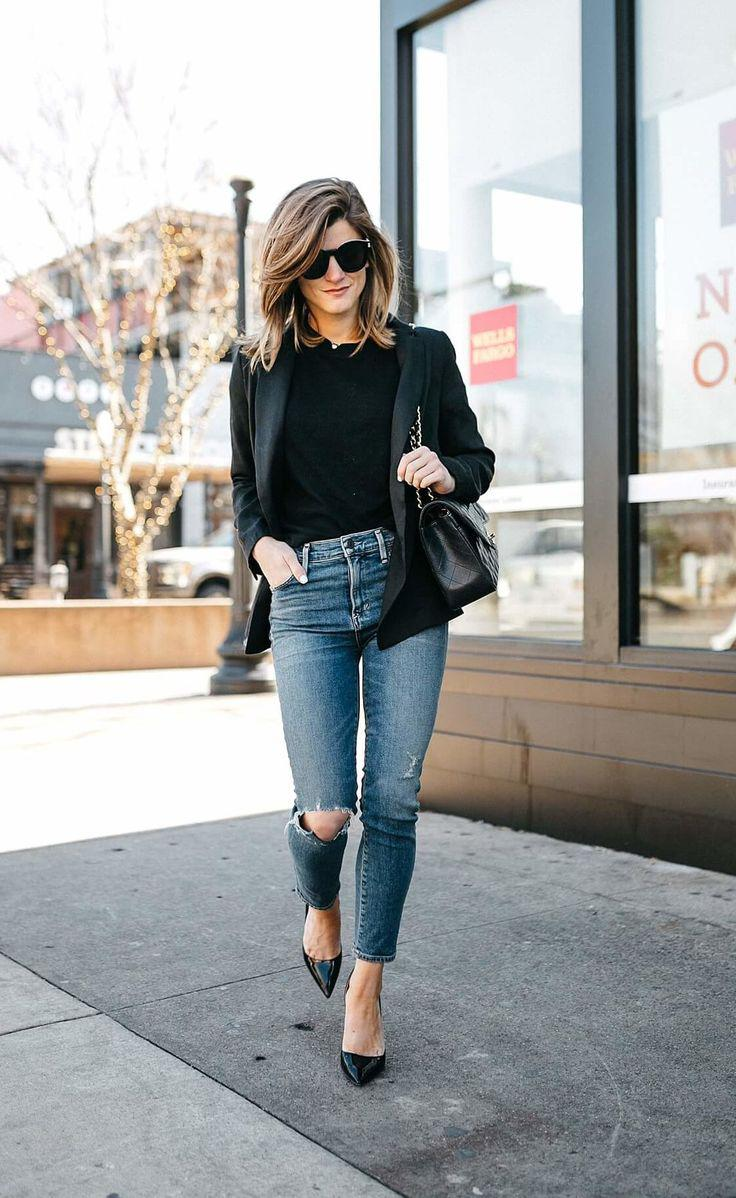 Blazer With Jeans Outfit – Sophisticated Chic Style Jeans Outfit Ideas – Denim Outfi ...