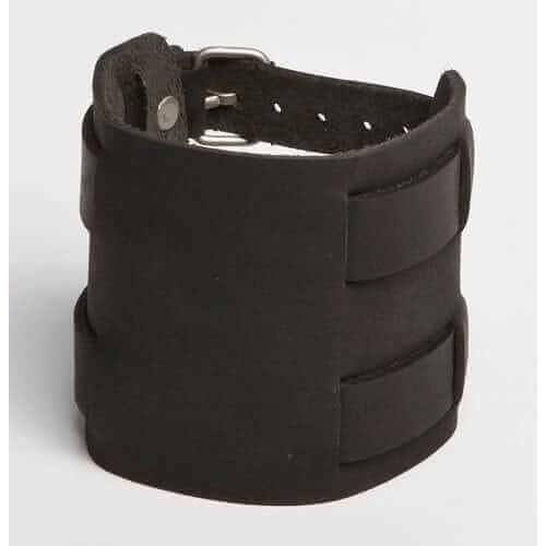 DOUBLE OVERPASS | Black or Brown Leather Wristband