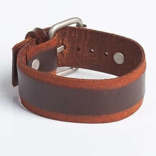 ROUTE 66 | Brown Leather Wristband
