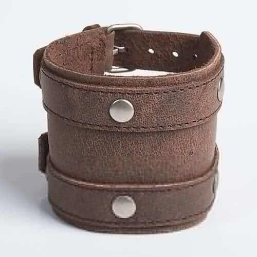 DOUBLE BANDIT | Brown or Mottled Brown Leather Wristband
