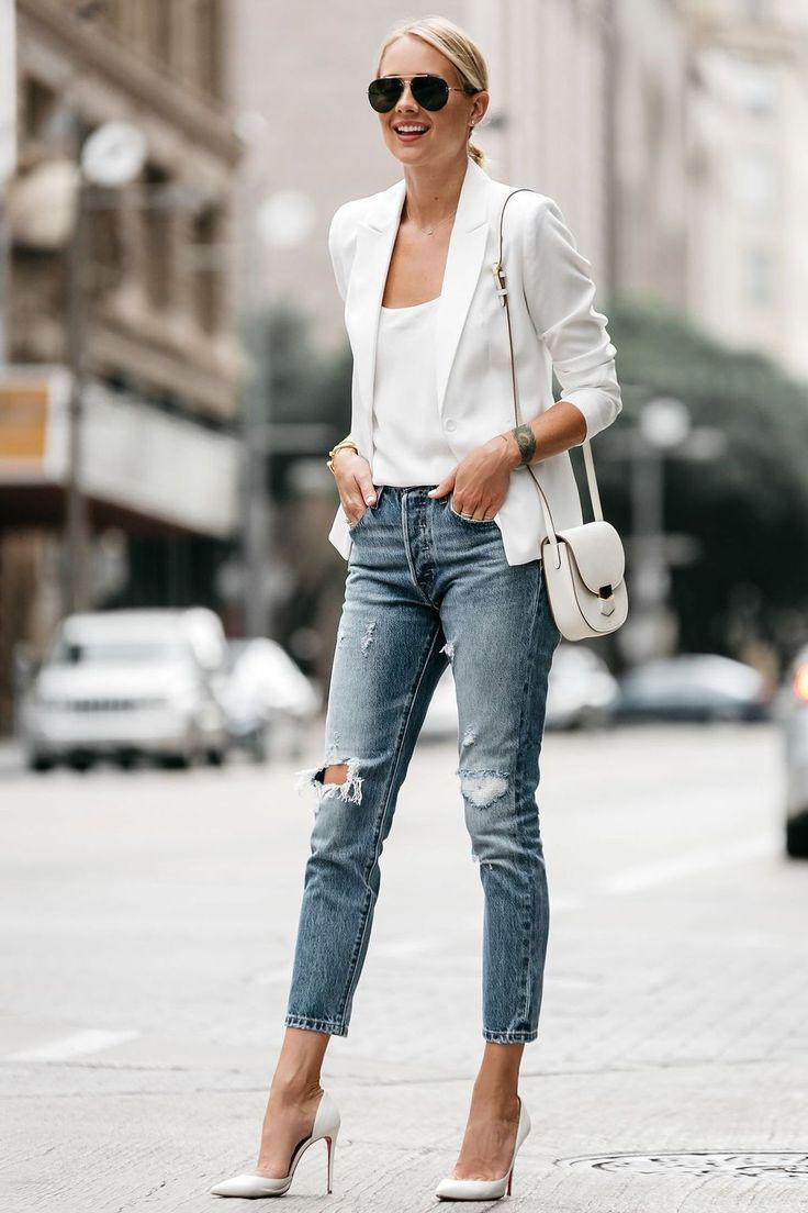 White blazer outfits wearing with distressed jeans – Denim Outfits 2019