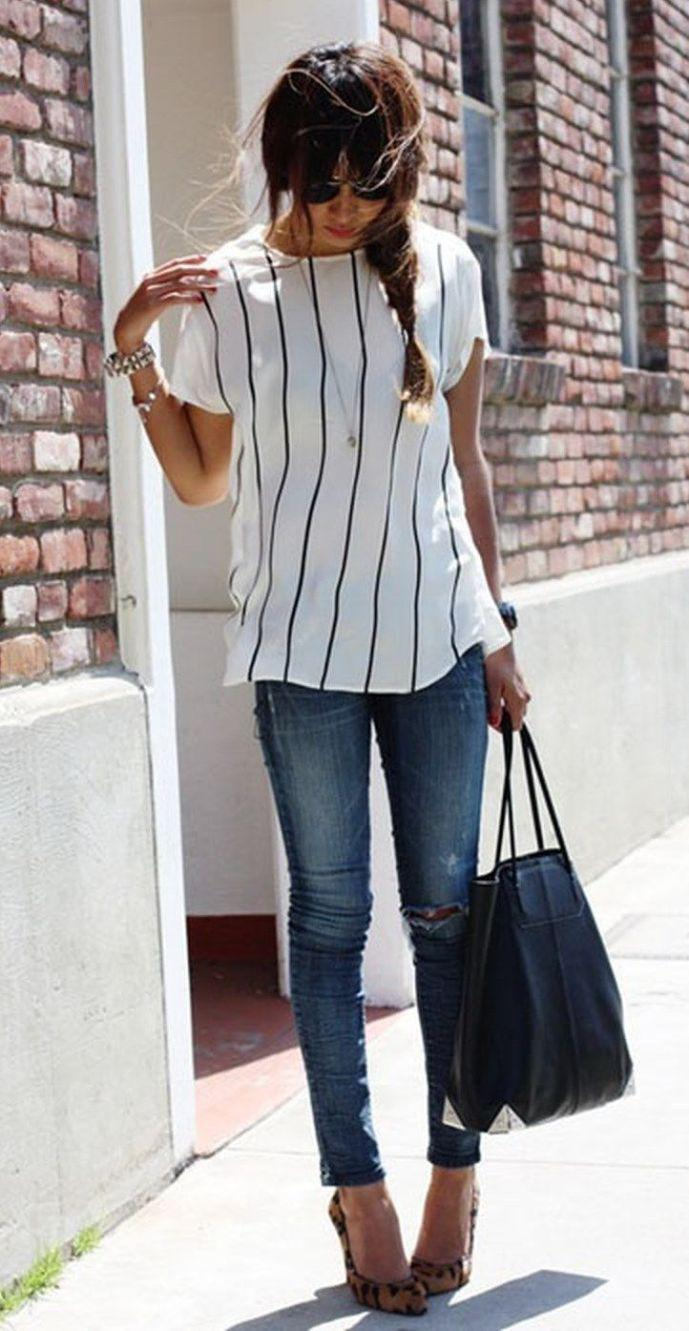 stylish summer work outfit with jeans you should try jeans