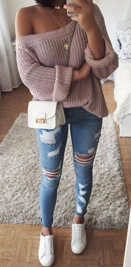 Fashion Trends One Shoulder Knit Sweater Plus Sneakers Plus Ripped Jeans Outfit Ideas