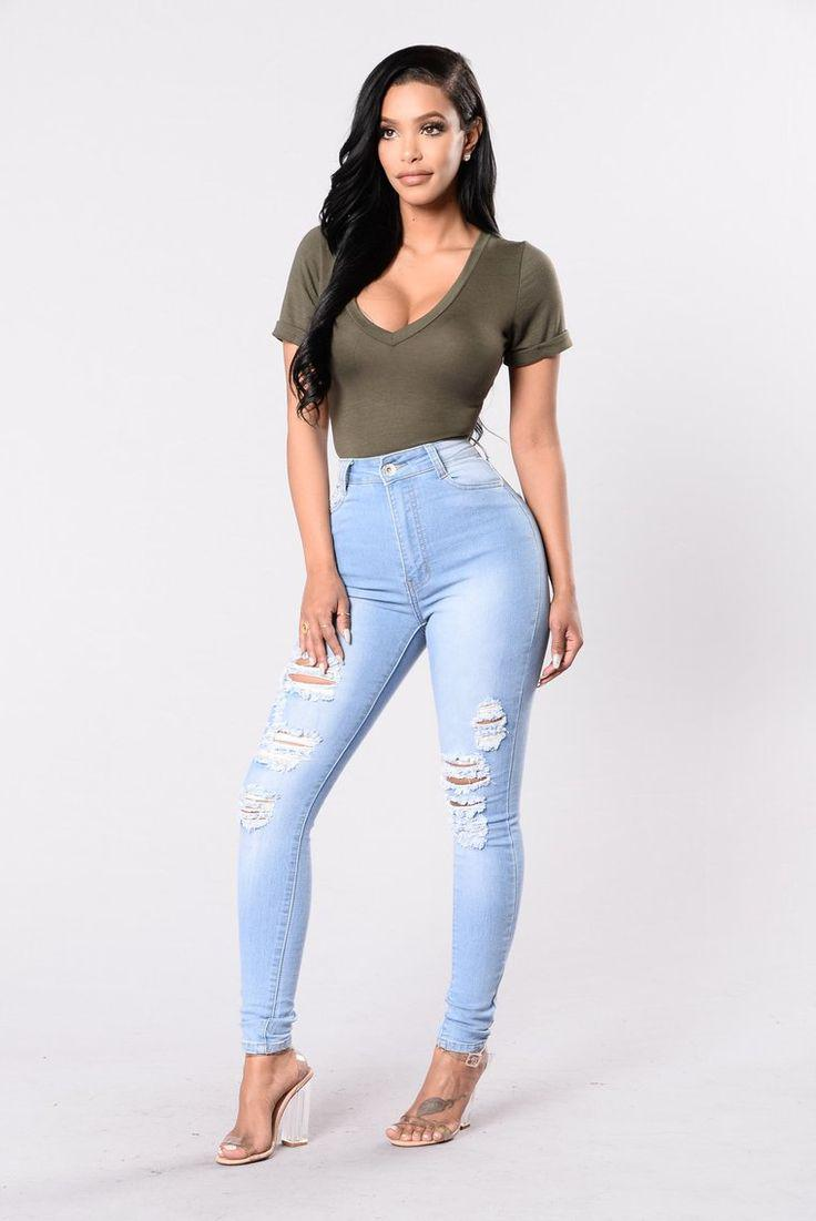 Drive To The Ocean Jeans – Light Blue Jeans Outfit Ideas – Denim Outfits 2019