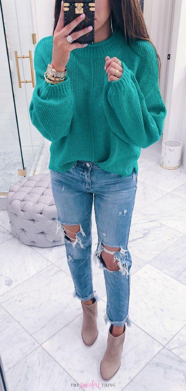 Stylish Fall Outfits For Women Winter Fashion Outfits – Denim Outfits 2019