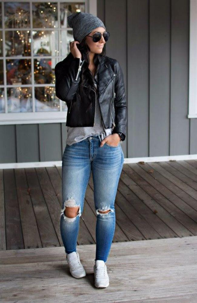 66ac9881625 Torn Jeans pairing with Black Leather jacket and sneakers – Denim Outfits  2019