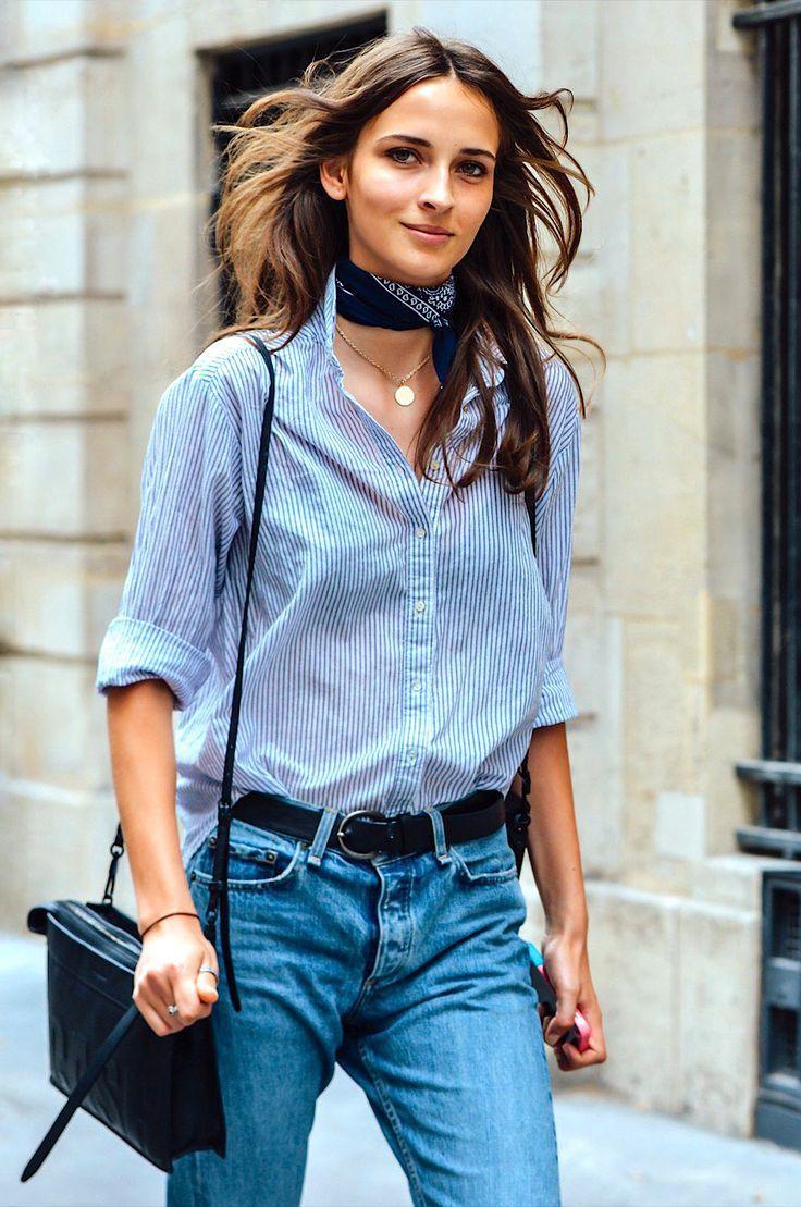 Women's Light Blue Vertical Striped Dress Shirt, Blue Jeans Outfit Ideas