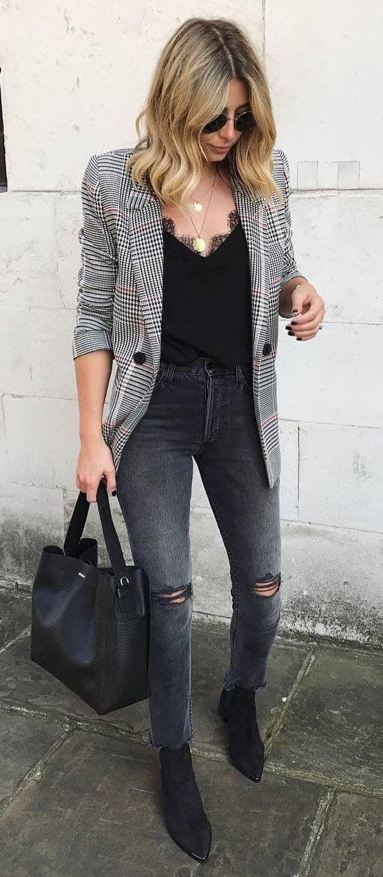 35 Elegant Winter Outfits with Blazer Inspiration Jeans Outfit Ideas – Denim Outfits 2019
