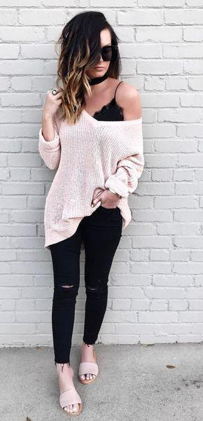 Cute Winter Casual Outfits with Black Jeans Outfit for Teens to Wear School