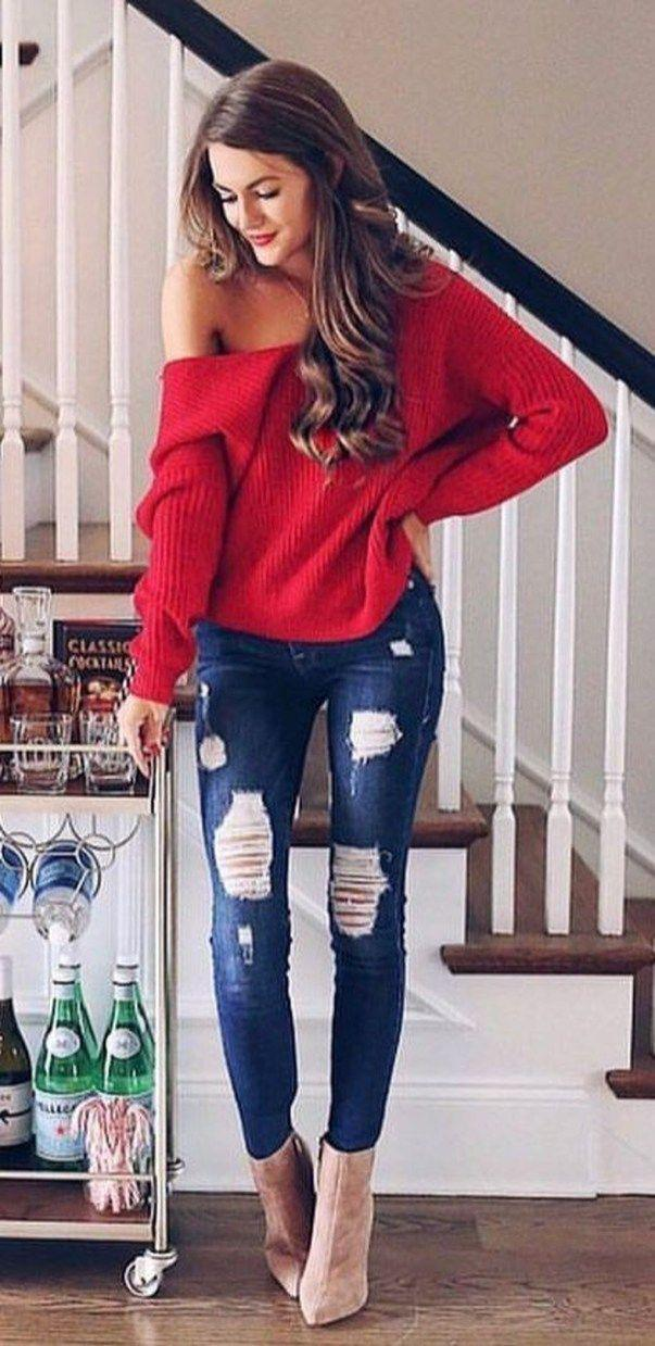 Women's red knitted sweater and blue-washed distressed jeans- Denim Outfits 2019
