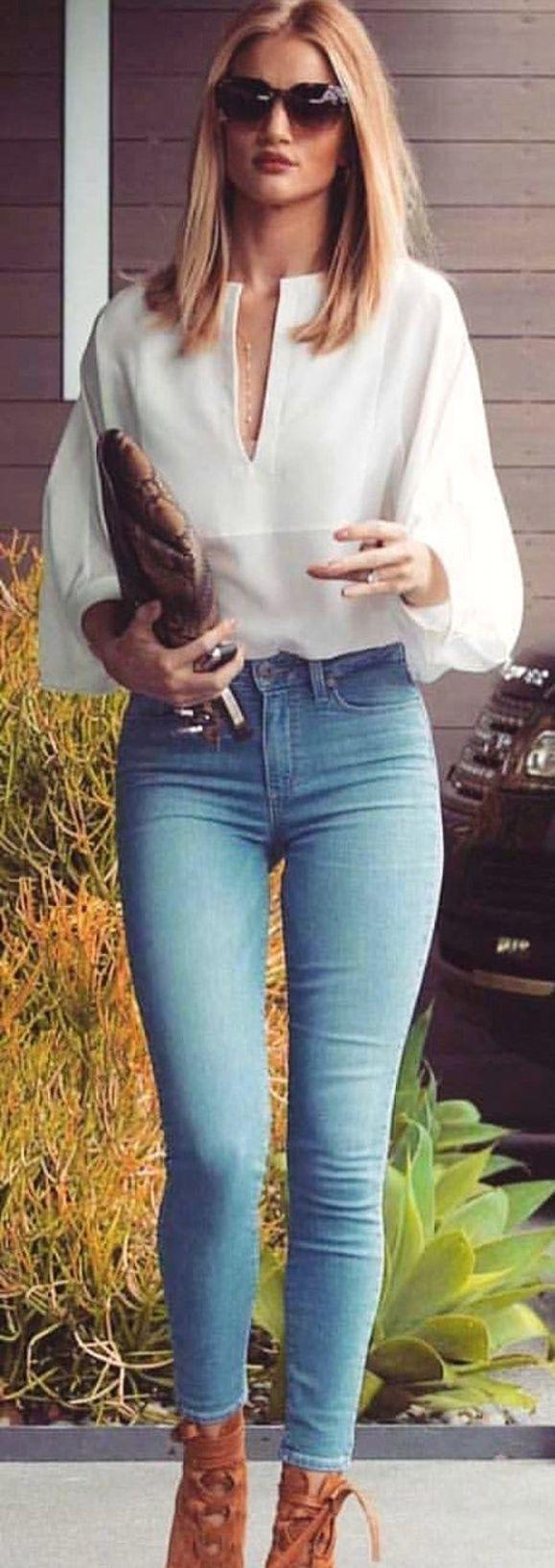 Clutch Plus White Blouse Plus Brown Lace Up Heels paired with Jeans Outfit Ideas – Denim O ...