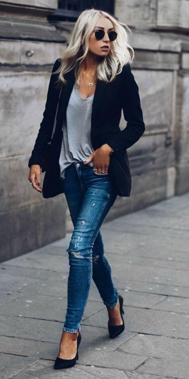 Stylish navy blazer summer outfits to wear at work pairing with Jeans – Denim Outfits 2019
